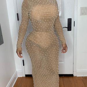 Nude Shiny Maxi Dress with Black Split